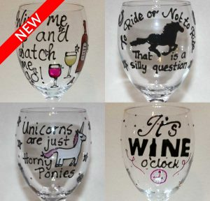 Personalised wine glasses hand painted by unique glasses - Funny wine glasses uk ...