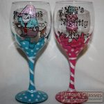 Personalised hand painted wine glasses