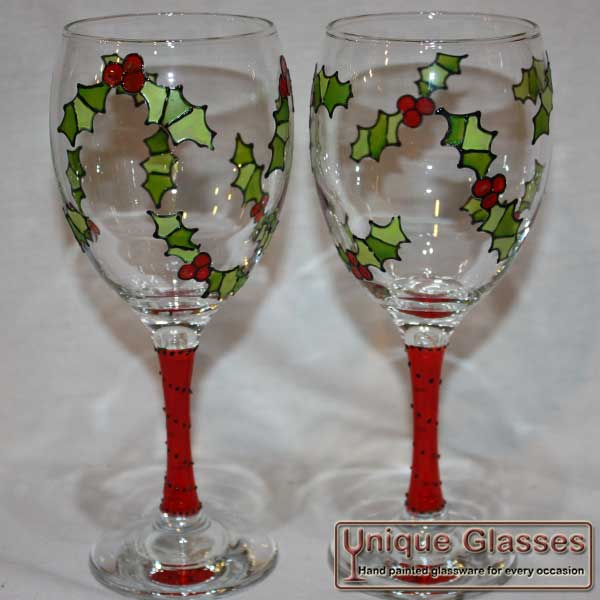 Christmas Holly Wine Glass