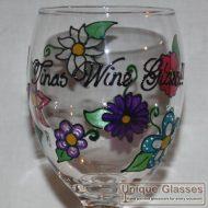 Personalised flower wine glass