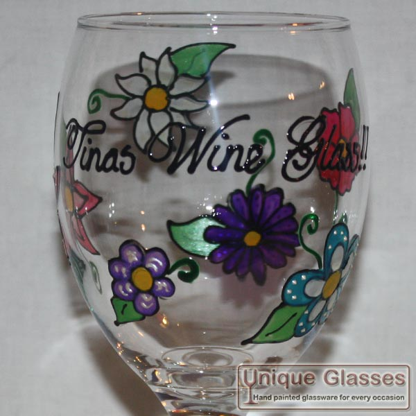 Personalised flower wine glass