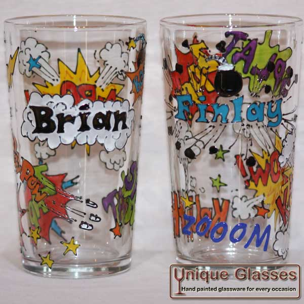 Personalised Comic Glass