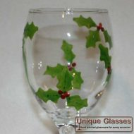 Personalised Christmas holly glass