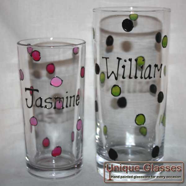 Personalised polka dot glass