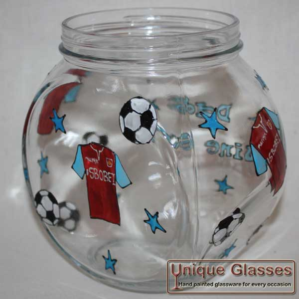 Personalised football cookie jar