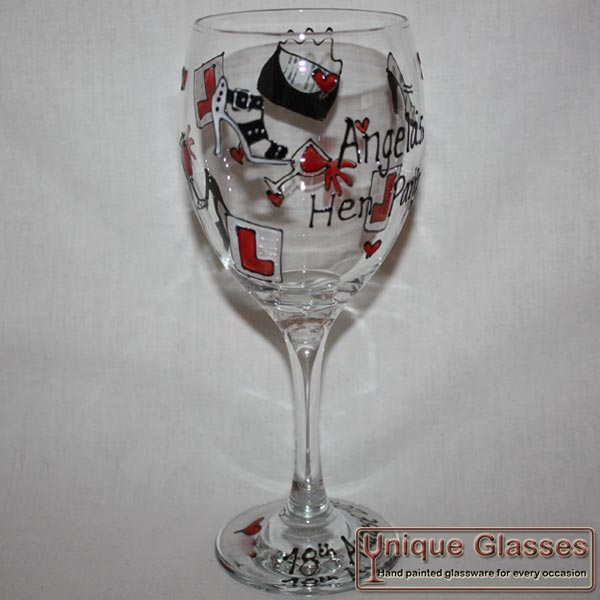 Personalised Hen Glass