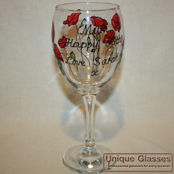 Personalised Hand Painted Poppy Wine Glass By Unique Glasses