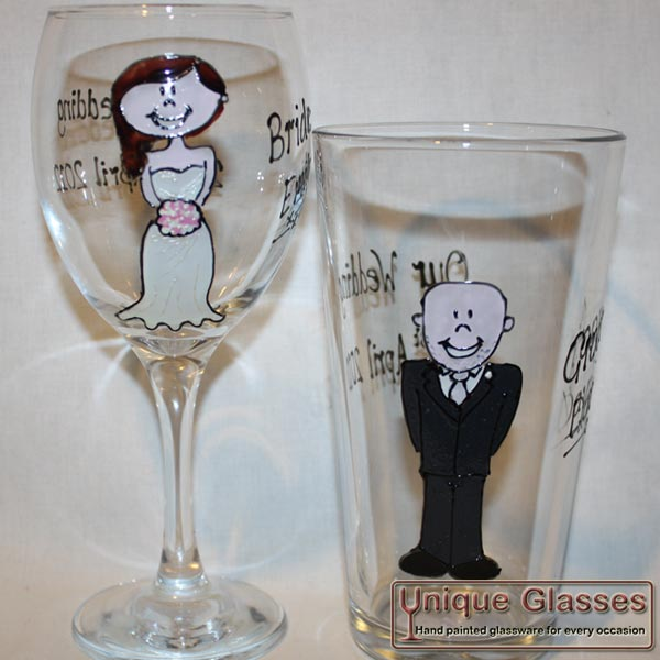 Wedding Character Set Bride Groom Unique Glasses