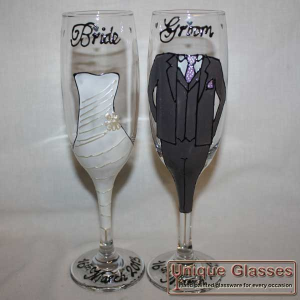 Personalised wedding champagne glasses