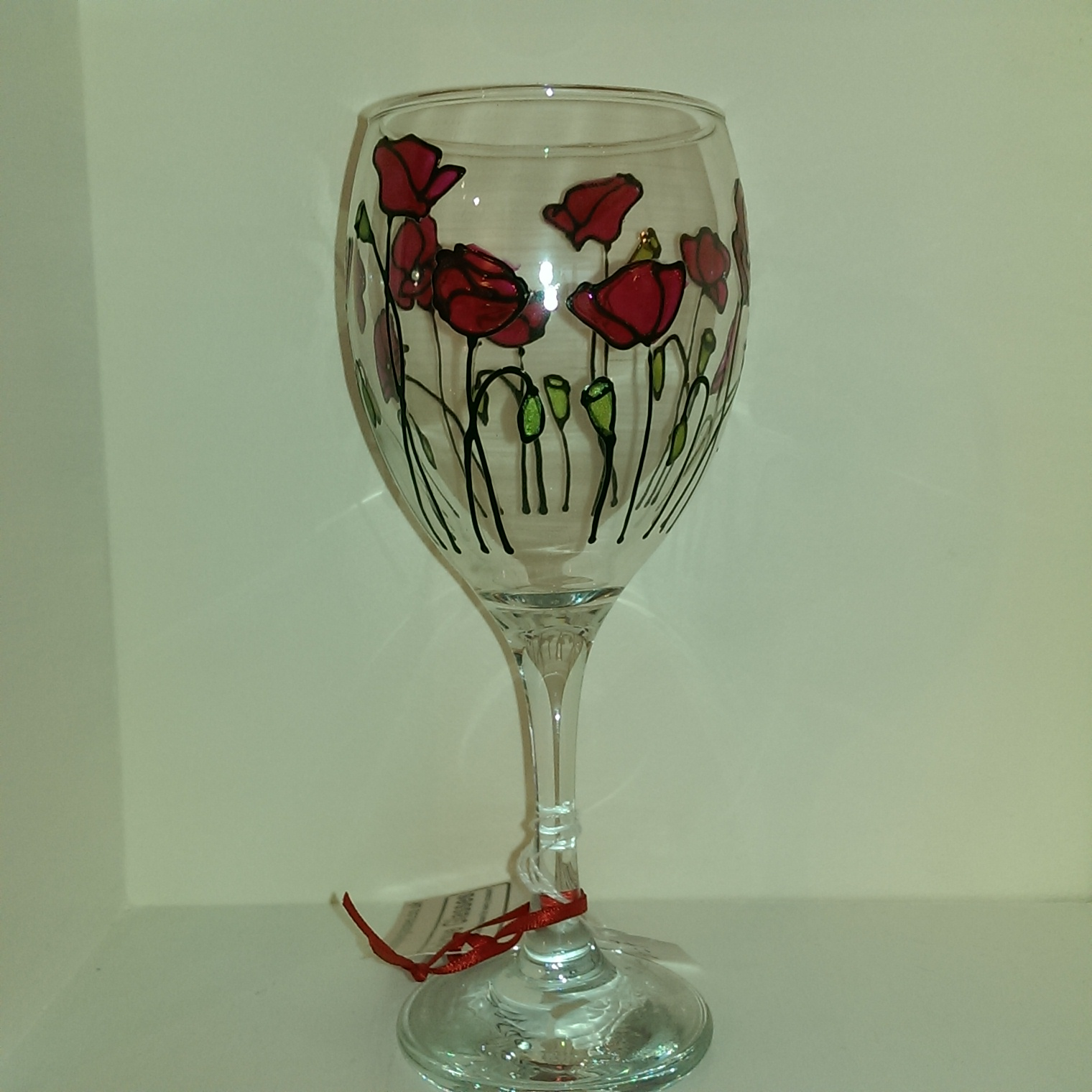 Already Painted Poppy Wine Glass Unique Glasses