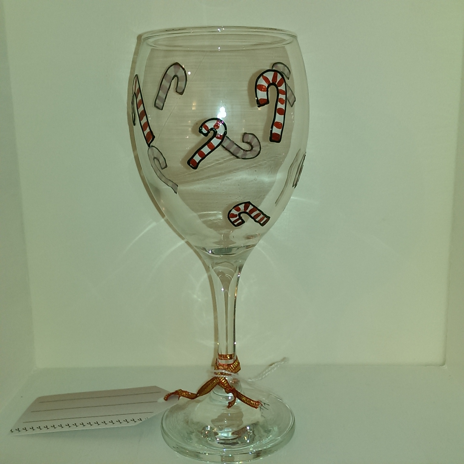 Already Painted Candy Cane Wine Glass Personalised Wine
