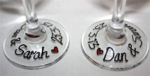 personalised wedding favours, hand painted wedding glass