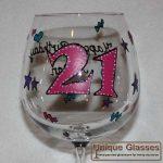 personalised Birthday 21 wine glass