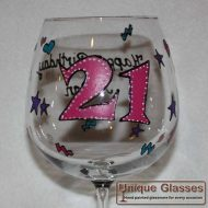 personalised Birthday 21 wine glass