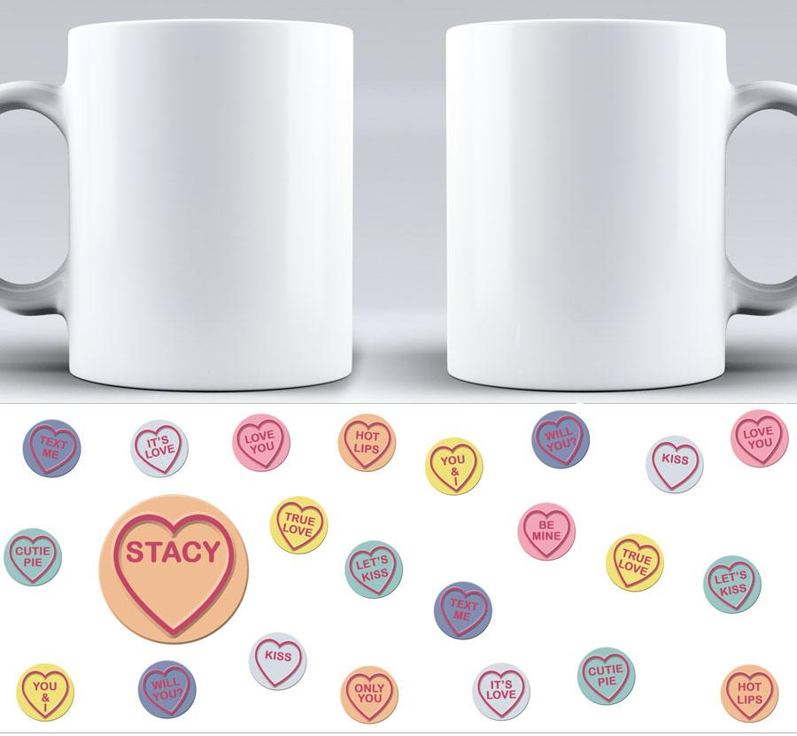 Love heart sweets mug