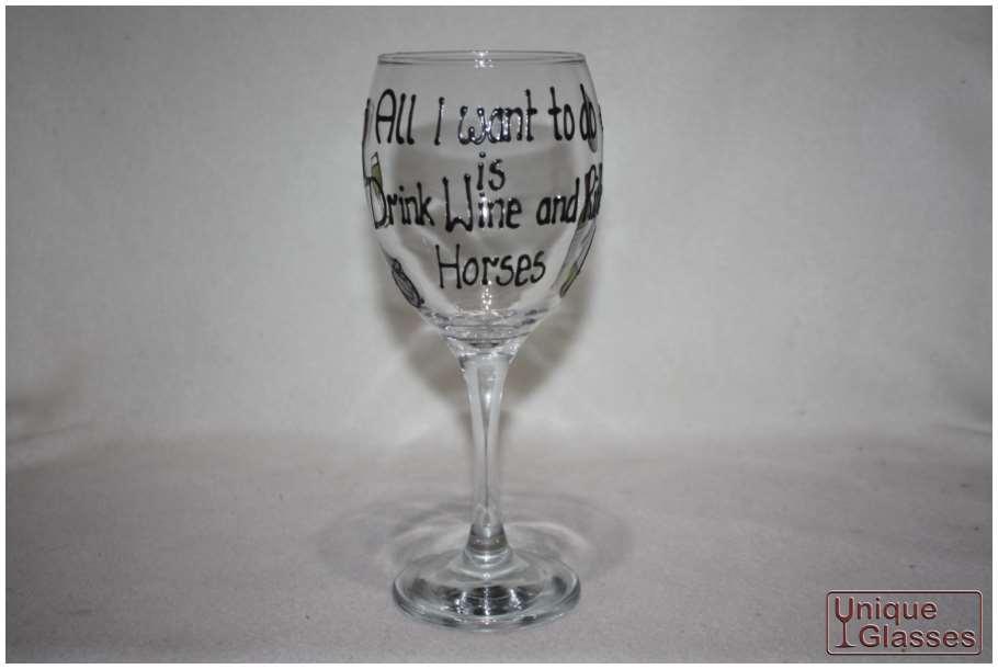 personalised horse wine glasses