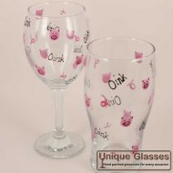 Personalised Pig Wine Glass Beer Glass