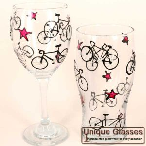 bike cycling personalised glass