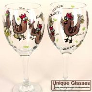 personalised chicken hen glass