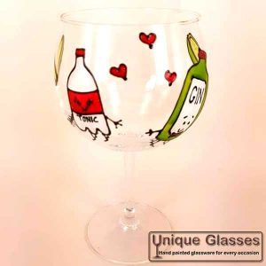 Personalised Gin Tonic Bottle Glass Hand Painted